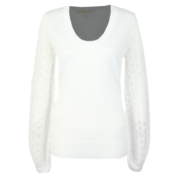 Michael Kors Womens White Flower Burnout Sweat