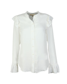 Michael Kors Womens White Ruffle Button Down Shirt
