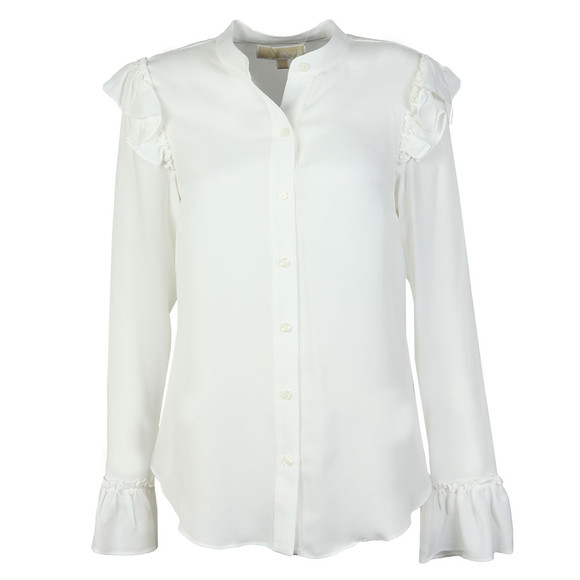 Michael Kors Womens White Ruffle Button Down Shirt main image