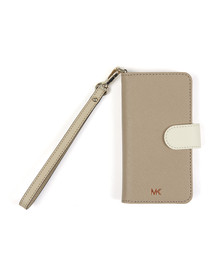 Michael Kors Womens Beige Folio Phone Case With Strap