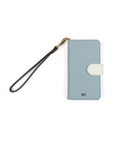 Michael Kors Womens Blue Folio Phone Case With Strap