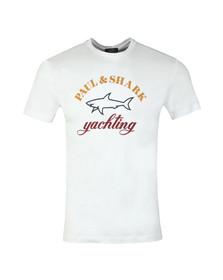 Paul & Shark Mens White Shark Fit Large Logo T Shirt
