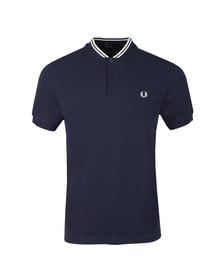 Fred Perry Mens Blue S/S Bomber Collar Polo
