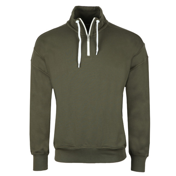 BOSS Mens Green Casual Ztalone Half Zip Sweatshirt main image
