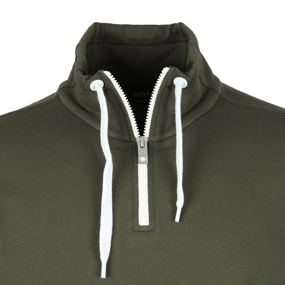 BOSS Mens Green Casual Ztalone Half Zip Sweatshirt