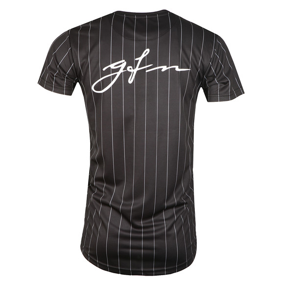 Good For Nothing Mens Black Pin Stripe Baseball T Shirt main image