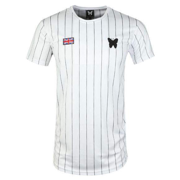 Good For Nothing Mens White Pin Stripe Baseball T Shirt main image
