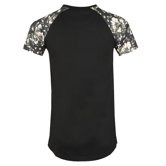 Good For Nothing Mens Black Floral Raglan T Shirt main image