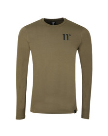 Eleven Degrees Mens Green L/S Muscle Fit Tee