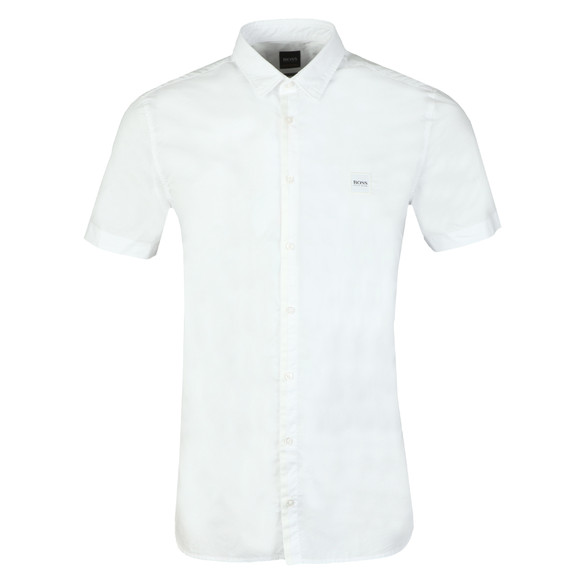 BOSS Mens White Casual Magneton Short Sleeve Shirt