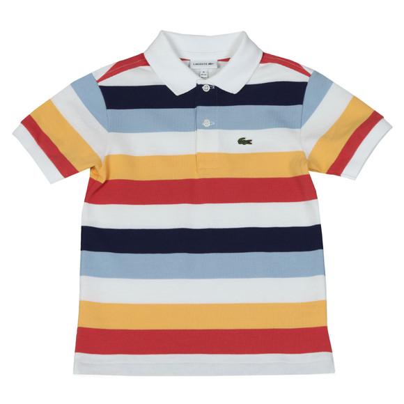 Lacoste Boys White Boys PJ3583 Stripe Polo Shirt main image