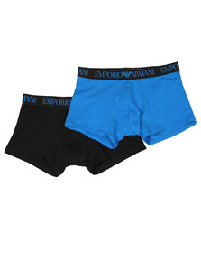 Emporio Armani Mens Black Endurance 2 Pack Trunks