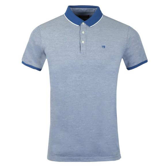 Scotch & Soda Mens Blue Polo In Two Tone Pique main image