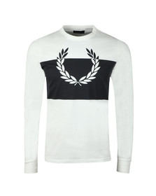 Fred Perry Mens White Blocked Laurel Wreath LS T-Shirt