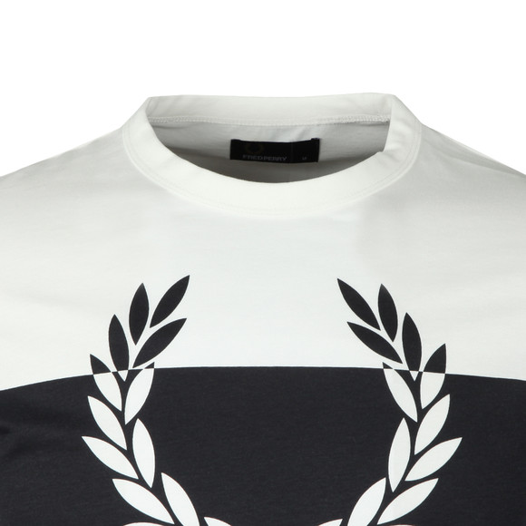 Fred Perry Mens White Blocked Laurel Wreath LS T-Shirt main image