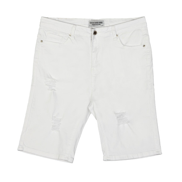 Good For Nothing Mens White Distressed Denim Short main image