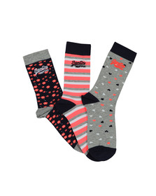 Superdry Womens Blue Floral Heart Triple Pack Sock