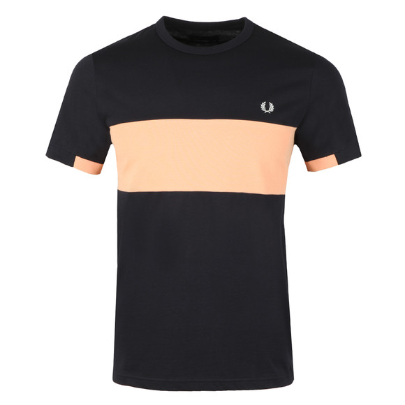 Fred Perry Mens Blue S/S Panel Tee main image