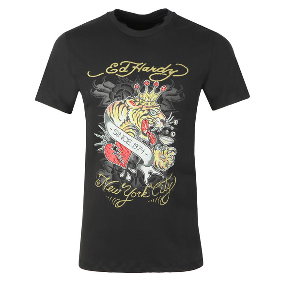 Ed Hardy Mens Black Ed Boozy Tiger T-Shirt main image