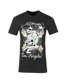 Ed Hardy Mens Black Ed Death Flag T-Shirt