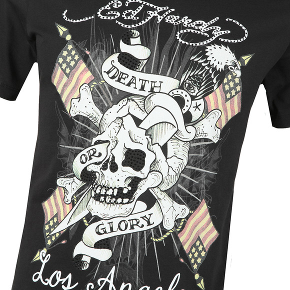 Ed Hardy Mens Black Ed Death Flag T-Shirt main image