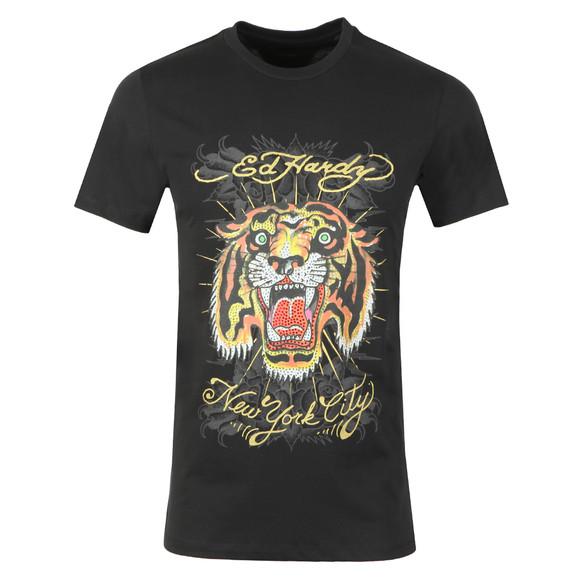 Ed Hardy Mens Black Ed Angry Tiger T-Shirt main image