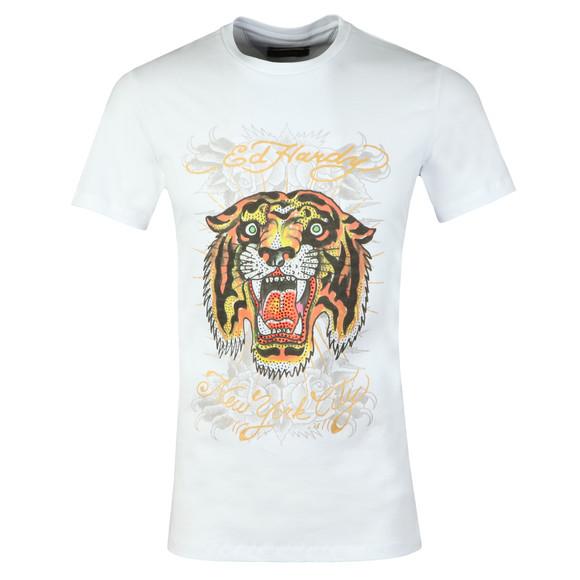 Ed Hardy Mens White Ed Angry Tiger T-Shirt main image