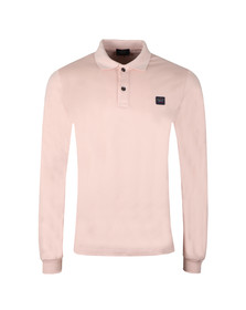 Paul & Shark Mens Pink Shark Fit LS Square Badge Polo Shirt