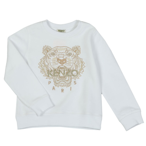 Kenzo Kids Girls White Gold Tiger Sweatshirt