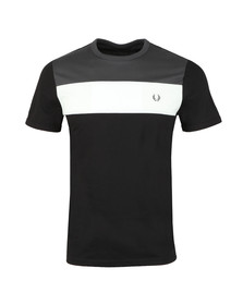 Fred Perry Mens Black S/S Block Panel Tee