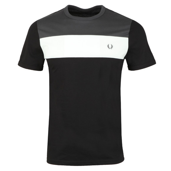 Fred Perry Mens Black S/S Block Panel Tee main image