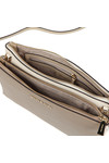 Michael Kors Womens Beige Two Tone Double Zip Crossbody Bag
