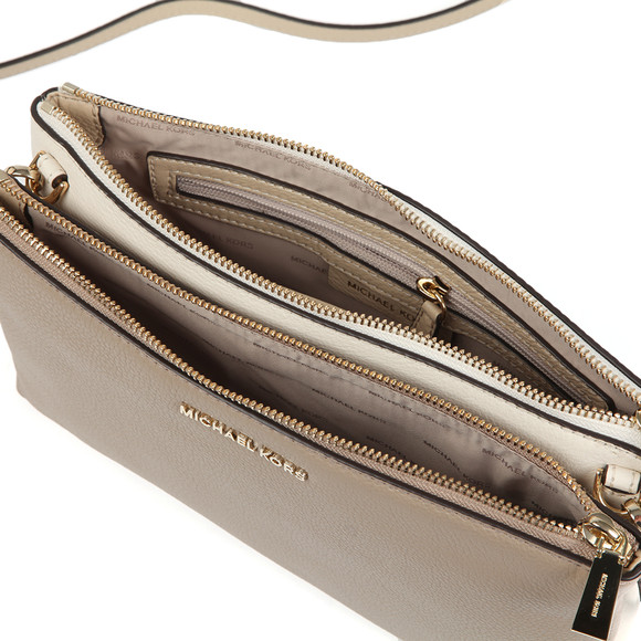 Michael Kors Womens Beige Two Tone Double Zip Crossbody Bag main image