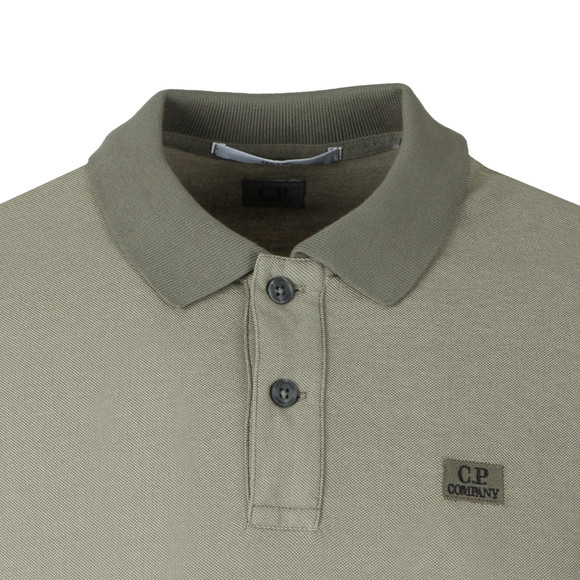 C.P. Company Mens Green Slim Fit Long Sleeve Polo Shirt main image