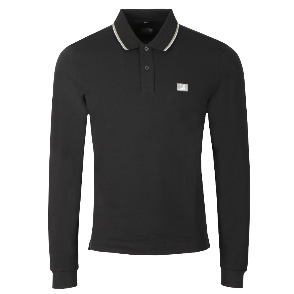 Tipped Long Sleeve Embroidered Polo Shirt main image
