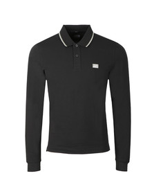C.P. Company Mens Black Tipped Long Sleeve Embroidered Polo Shirt