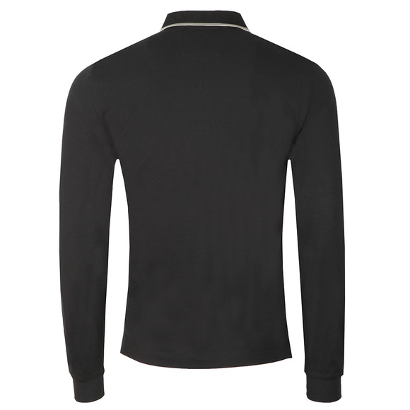C.P. Company Mens Black Tipped Long Sleeve Embroidered Polo Shirt main image