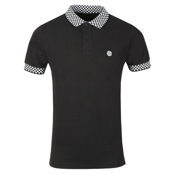 Ska and Soul Mens Black S/S Chequerboard Trim Polo main image