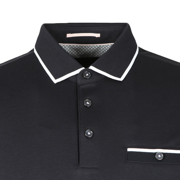 Ted Baker Mens Blue Jelly Flat Knit Collar Polo Shirt main image