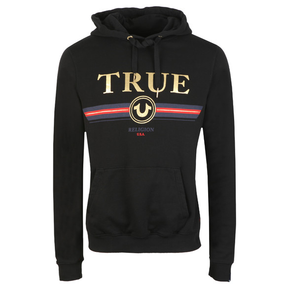 True Religion Mens Black Gold True Overhead Hoody main image