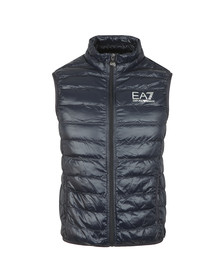 EA7 Emporio Armani Mens Blue Small Logo Down Gilet
