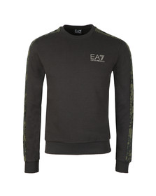 EA7 Emporio Armani Mens Black Camo Piped Sleeve Sweatshirt