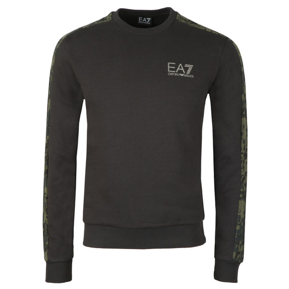 EA7 Emporio Armani Mens Black Camo Piped Sleeve Sweatshirt main image