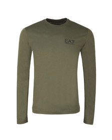 EA7 Emporio Armani Mens Green Small Logo Long Sleeve T Shirt