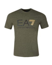 EA7 Emporio Armani Mens Green Large Chest Logo Tee