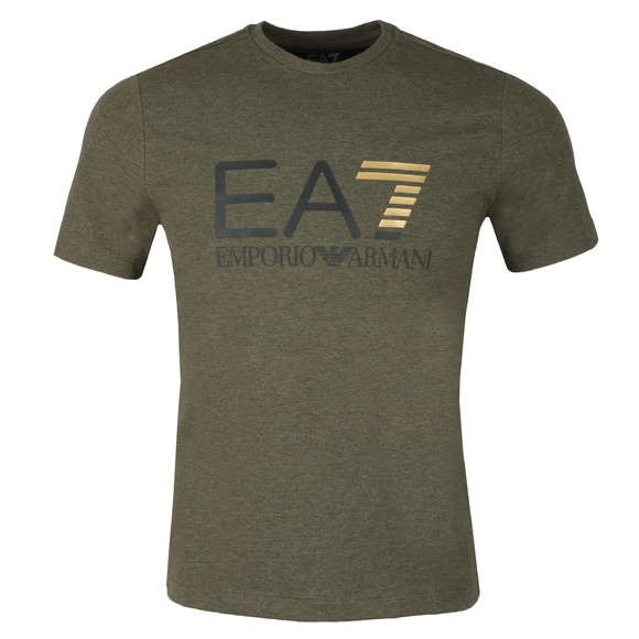 EA7 Emporio Armani Mens Green Large Chest Logo Tee main image