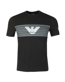 EA7 Emporio Armani Mens Black Large Stripe Chest Logo Tee