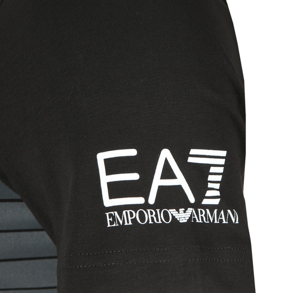 EA7 Emporio Armani Mens Black Large Stripe Chest Logo Tee main image
