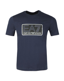 EA7 Emporio Armani Mens Blue Large Box Logo T Shirt