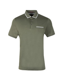 Ted Baker Mens Green Jelly Flat Knit Collar Polo Shirt
